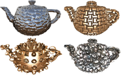teapots: Shell mapped teapot with different textures