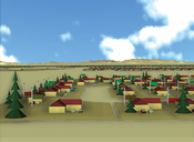 image: Example for a city modelled with our shape grammar.