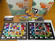 Image 1: Shows color adaption of virtual book and colorchart on the left