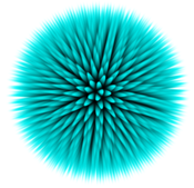 Sea urchin model: Volume rendering of a sea urchin model sampled with our method. The color is linearly interpolated in the spike tetrahedra. The model consists of 2470 tetrahedra and is sampled to a grid with resolution 256³ with a Gaussian filter kernel of radius 2.3 voxels.