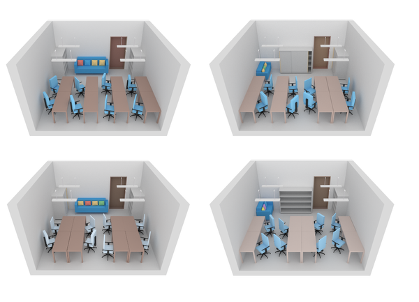 image: Four variations of an office.