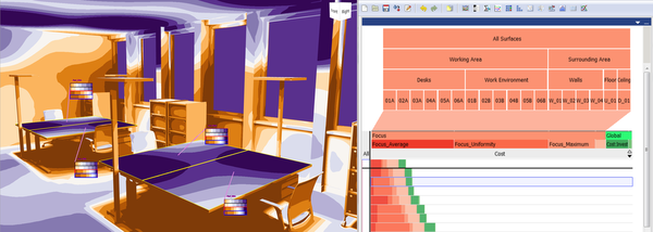 teaser: two components of the LiteVis interface, left: the Simulation View, right: ranking of lighting solutions in the Analysis View