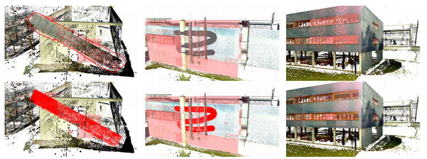 teaser: Our novel interactive approach for shape detection in point clouds allows for sophisticated interactions, like shape-assisted lasso selection, shape-assisted volumetric brush, and shape-assisted local LoD increment.